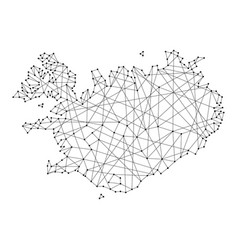 Map of iceland from polygonal black lines and dots vector