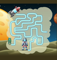 Maze game of astronaut find a path to rocket vector