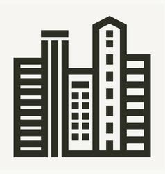 Minimal city skyscapers buildings icon vector