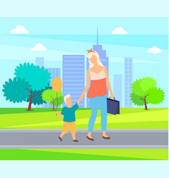 Mother and child cartoon people walk in city park vector