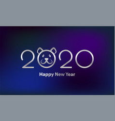 new year 2020 text design with funny rat muzzle vector image