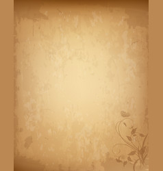 old grungy vintage paper with lovely floral print vector image