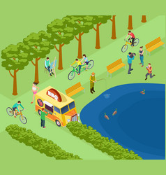 people relax in park ride bicycle photograph and vector image
