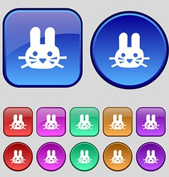 Rabbit icon sign a set of twelve vintage buttons vector