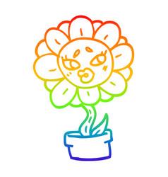 rainbow gradient line drawing cartoon flower pot vector image