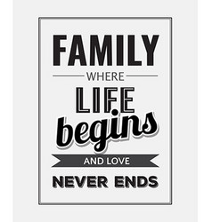 Retro motivational quote family where life begins vector