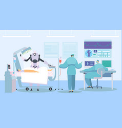 Robot performing surgery future healthcare vector