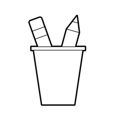 school plastic cup with pencil pen supplies vector image vector image