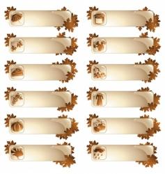 set 12 autumnal labels vector image