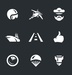 set aircraft carrier icons vector image