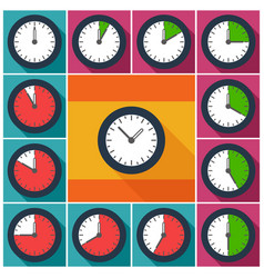 set clocks with 10 minutes interval vector image