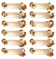 set of 12 autumnal labels vector image