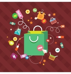 Set of flat design concept icons for shopping vector image
