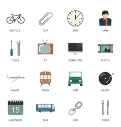 Set of flat style icons vector