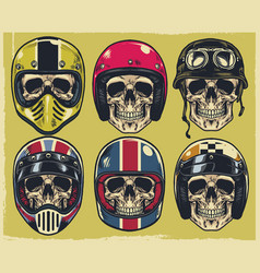 Set of hand drawing skulls wearing various of vector