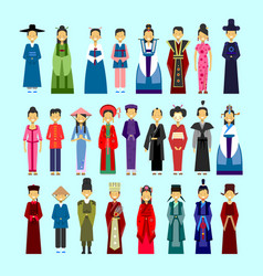 set of people in traditional asian clothing male vector image