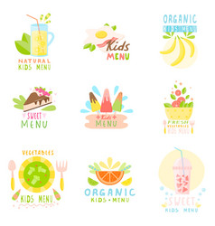 Set of stickers of natural children s menu with vector