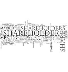 Shareholder word cloud concept vector