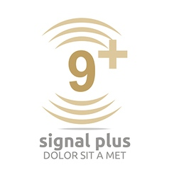 Signal number 9 plus brown figure wireless vector