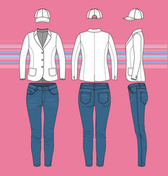simple outline drawing of a blazer jeans and cap vector image