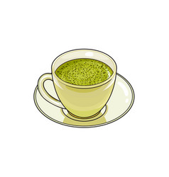 sketch cup of whipped green mathca tea vector image