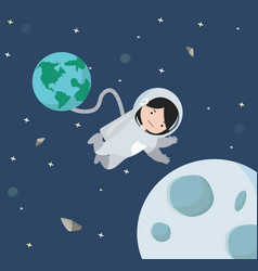 small girl astronaut floating in space background vector image