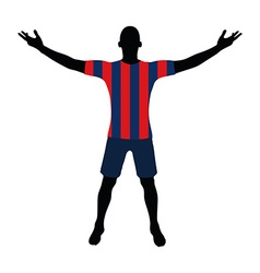 Soccer player silhouette in red blue navy vector