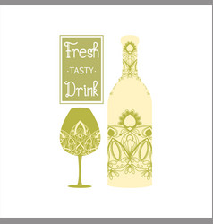 Soft flower design alcohol glass and bottle vector