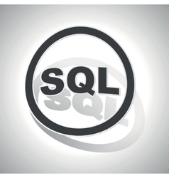SQL sign sticker curved vector