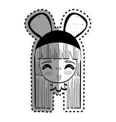 Sticker anime happy cute woman with costume vector