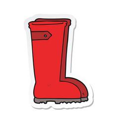 Sticker of a cartoon wellington boots vector