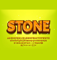 stone 3d cartoon alphabet for game title or menu vector image
