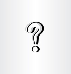 Stylized question mark icon logo black symbol vector