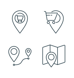 Supermarket location and route line icons set on vector