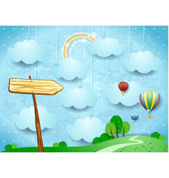 surreal landscape with hot air balloons and arrow vector image