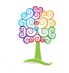 Swirly multicolored tree style icon vector