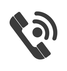 Telephone isolated flat icon in black and white vector