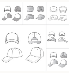 Tennis cap set vector
