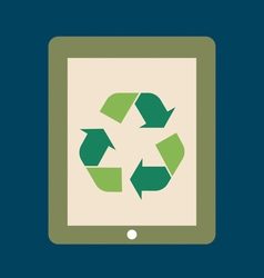 Touchscreen device with Recycle symbol symbol on vector