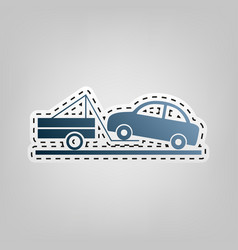 tow truck sign blue icon with outline for vector image