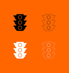 Traffic light black and white set icon vector