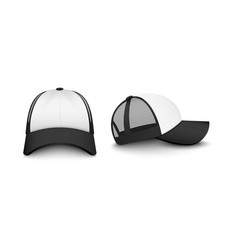 Trucker white cap with black visor mockup vector