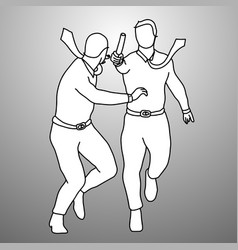 two businessmen relay race doodle vector image