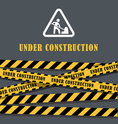 Under construction website page with black and vector