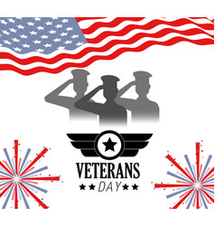 veterans celebration with united states flag vector image