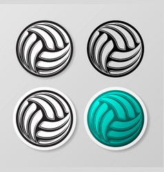 volleyball abstract symbol stickers set vector image