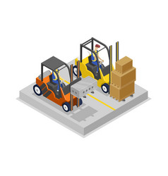 Warehouse forklifts in loading isometric 3d icon vector