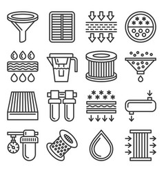 Water air and car oil filter related icons set on vector