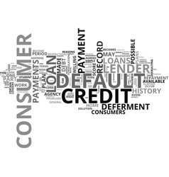 What is default and how does it affect my credit vector