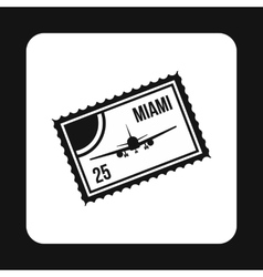 Air ticket to Miami icon simple style vector image